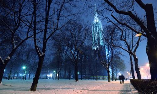 Wien bei Nacht im Schnee